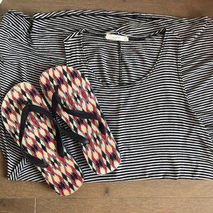 Poetry Striped Cover-Up Dress OS + Flip Flops Sz L